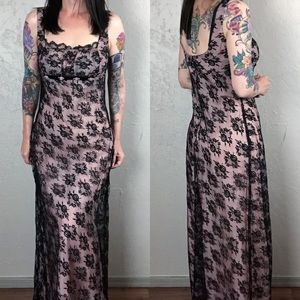 Vintage Gunne Sax Black Lace Maxi Dress